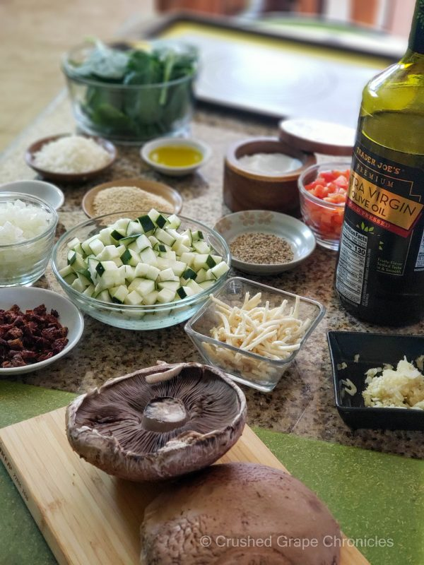 Ingredients for stuffed portabella mushrooms