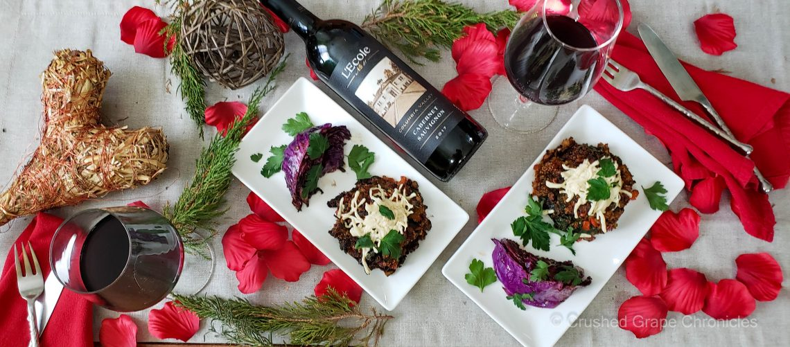L'Ecole No. 41 for Valentine's Day Vegan Style with stuffed portabella mushrooms and grilled purple cabbage wedges