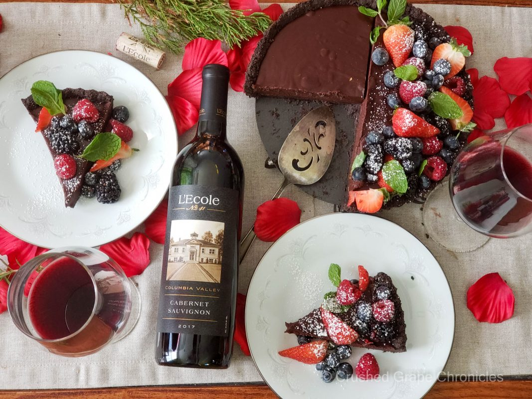L'Ecole No. 41 Cabernet Sauvignon for Valentine's Day with a chocolate tart with forest berries