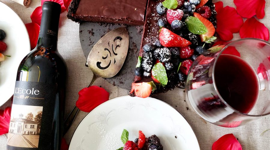 Chocolate tart with forest berries and a L'Ecole No. 41 Columbia Valley Cabernet Sauvignon