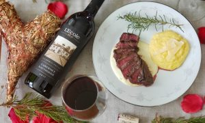 LEcole No. 41 for Valentines Day with steak gorgonzola sauce and polenta