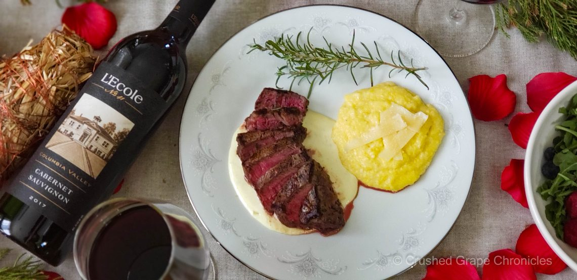 Cheesy polenta with L'Ecole No. 41 for Valentine's Day with steak, gorgonzola sauce
