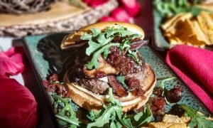 LEcole Valentine Day Burgers with Mushroom, Bacon Jam and Blue Cheese