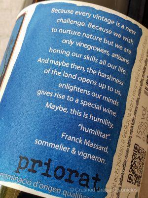 Priorat 2015 humilitat by Franck Massard back label