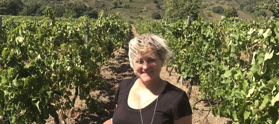 Sheila Donohue of Vero in a vineyard in front of the volcano Etna (photo courtesy Sheila Donohue)