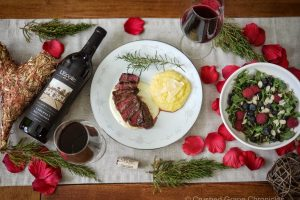 Valentin's day Steak with Gorgonzola and L'Ecole Cabernet