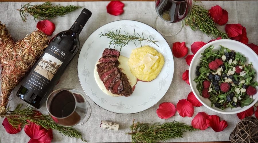Valentin's day Steak with Gorgonzola and L'Ecole Cabernet