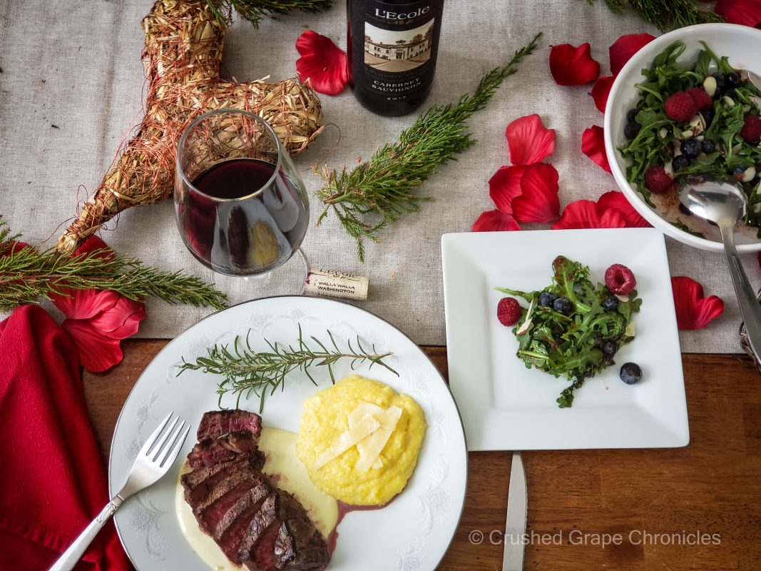 Steak with Gorgonzola and L'Ecole Cabernet