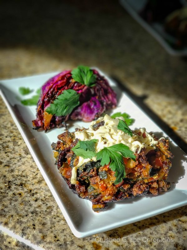 Valentine's Day Vegan Style with stuffed portabella mushrooms and grilled purple cabbage wedges