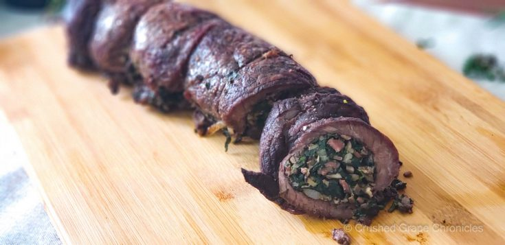 Beef roulade with spinach bacon and mushroom filling scaled