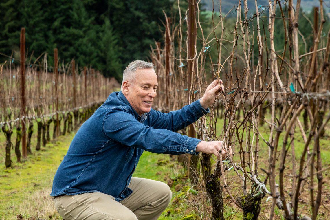 Dan Warnshuis in the Vineyard at Utopia (photo Coutesy Utopia Wine)