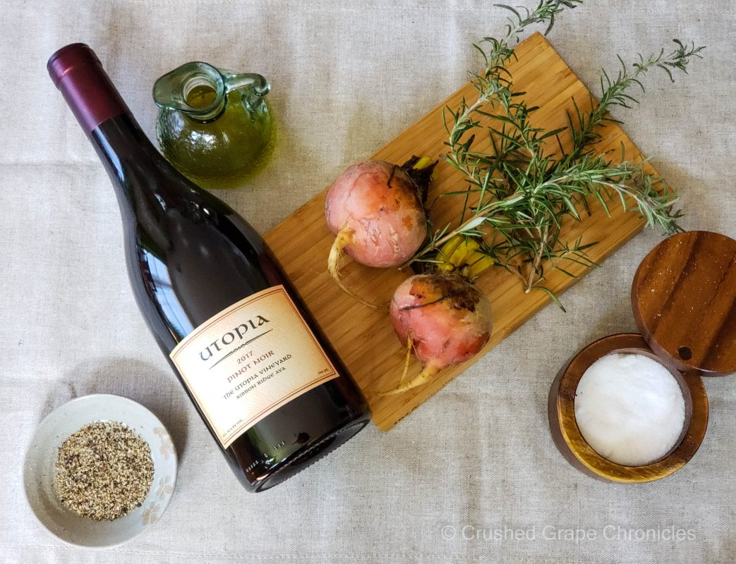 Ingredients for the rosemary roasted golden beets to pair with the Utopia Pinot Noir