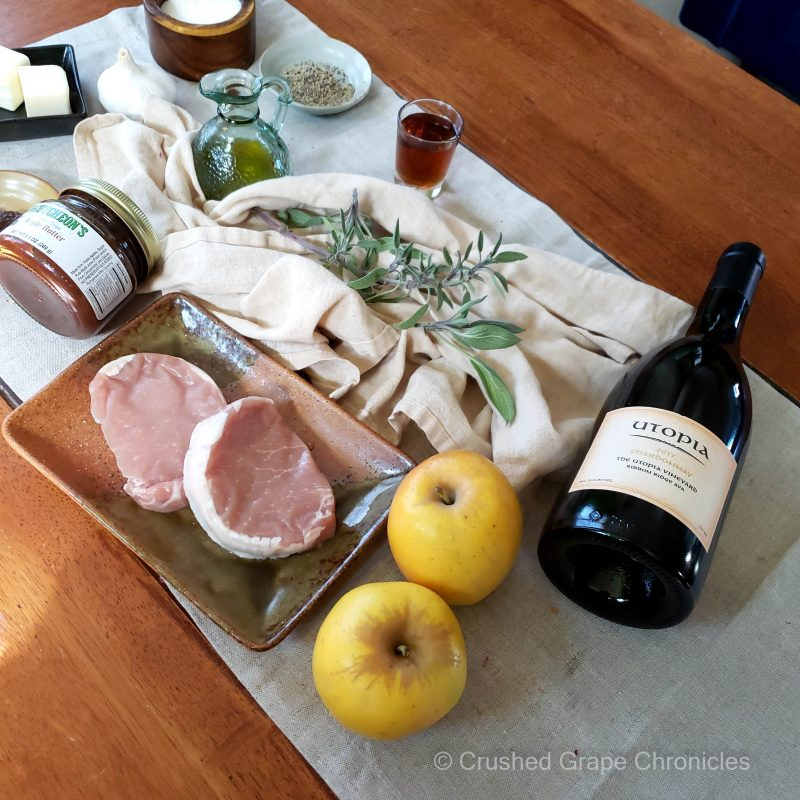 Ingredients for pork chops with yellow apples with Utopia Chardonna