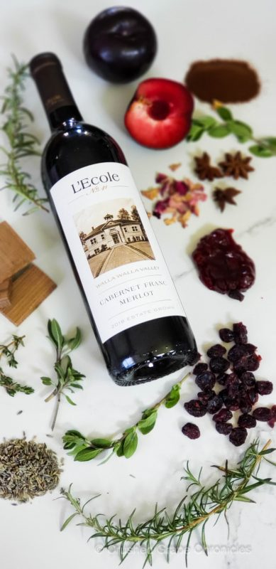L'Ecole No. 41 Cabernet Franc-Merlot 2018 with aroma profile with black plum, espresso, cherries, star anise, cranberry, cedar, lavender, rosemary, sage, thyme, and marjoram (all the ingredients in Herbs de Provence)
