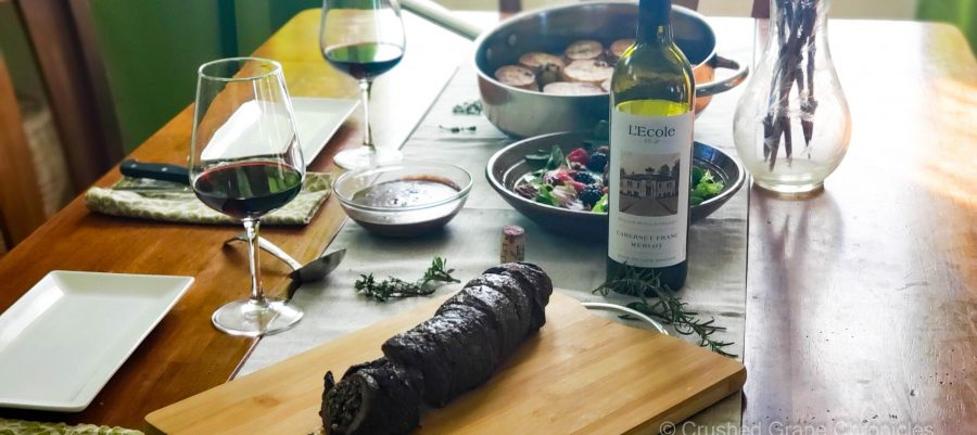 L'Ecole No. 41 Cabernet Franc-Merlot 2018 with beef roulade. a red wine sauce, melting potatoes and a berry salad