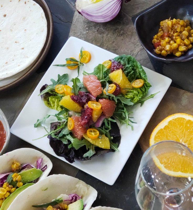 Pairings with Cuatro Rayas Rueda Verdejo fish tacos and citrus salad scaled e1616792240284