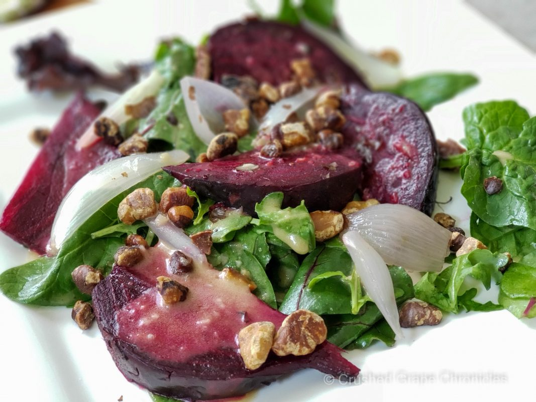 Roasted beet and shallot salad to pair with a Yakima Valley Bordeaux style blend