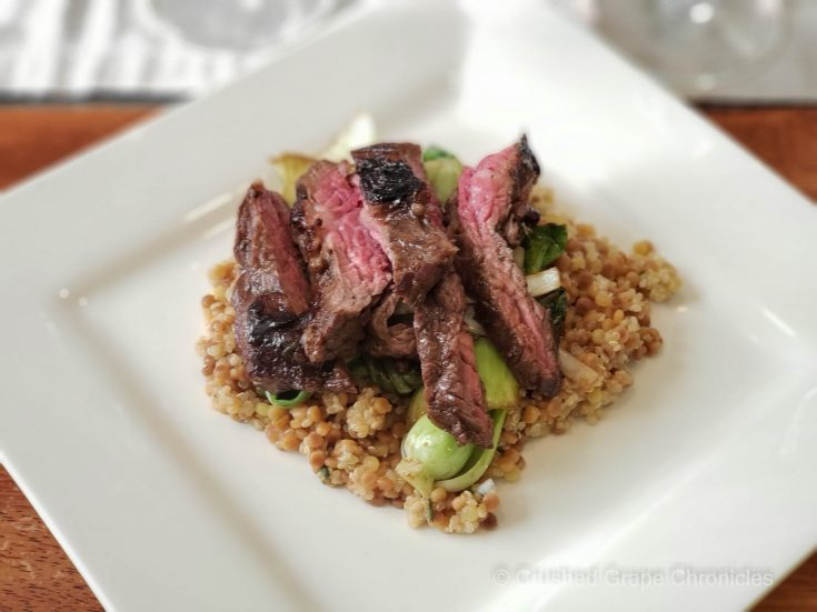Seared balsamic skirt steak with bok choy leeks and a cous cous blend scaled