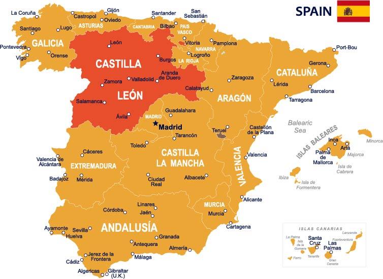 Spainmap illustration Castilla Leon jpg