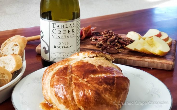 Tablas Creek Roussanne with pastry wrapped brie with apples scaled