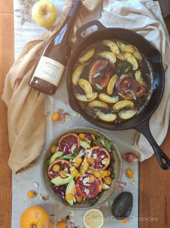 Utopia 2017 Estate Chardonnay pairings Avocado and Roasted Blood Orange with kumquats in a citrus, rosewater and cardamom dressing and Pork chops with yellow apples, sage, apple butter, and maple
