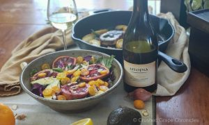 Utopia 2017 Estate Chardonnay with avocado, roasted blood orange and kumquat salad with a citrus, cardamom and rosewater dressing and Utopia 2017 Estate Chardonnay pairings Avocado and Roasted Blood Orange with kumquats in a citrus, rosewater and cardamom dressing and Pork chops with yellow apples, sage, apple butter, and maple