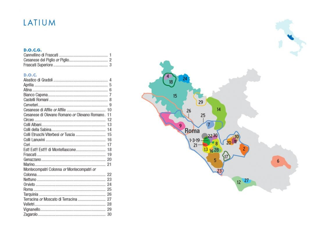 Latium DOC and DOCG map courtesy FederDoc