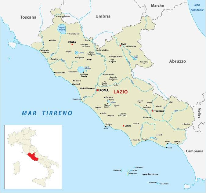 Map of Lazio Italy (via Adobe Stock by lesniewski)