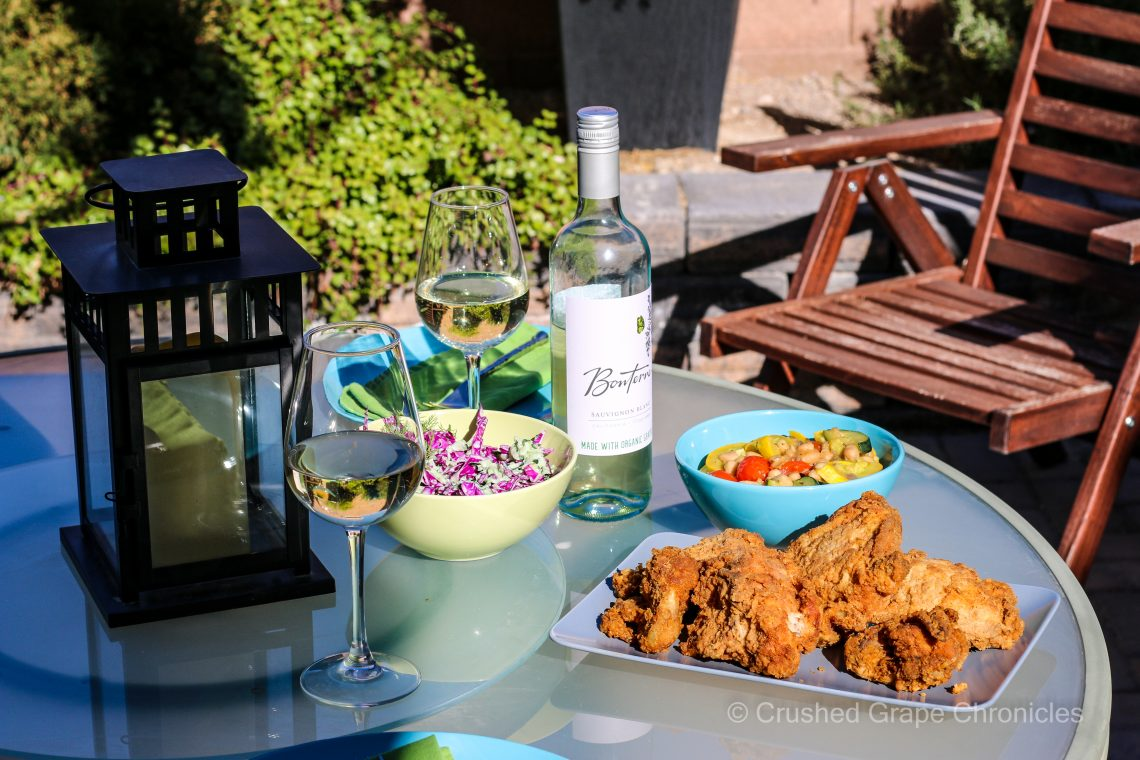 Bonterra 2020 Sauvignon Blanc for a Picnic with fried Chicken, tzatziki cole slaw, and northern white beans with summer squash and cherry tomatoes