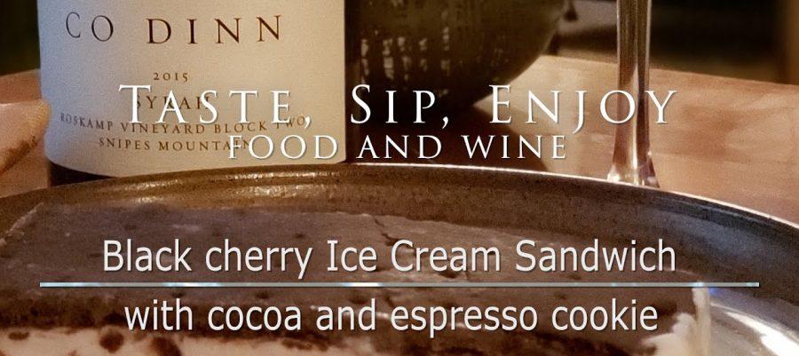 Black cherry Ice Cream Sandwich with cocoa and espresso cookie