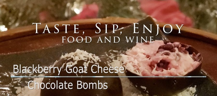 Blackberry Goat Cheese Chocolate Bombs with Rowlee Nebbiolo