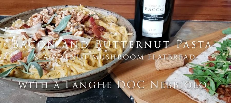 Bacon and Butternut Pasta with a Langhe DOC Nebbiolo