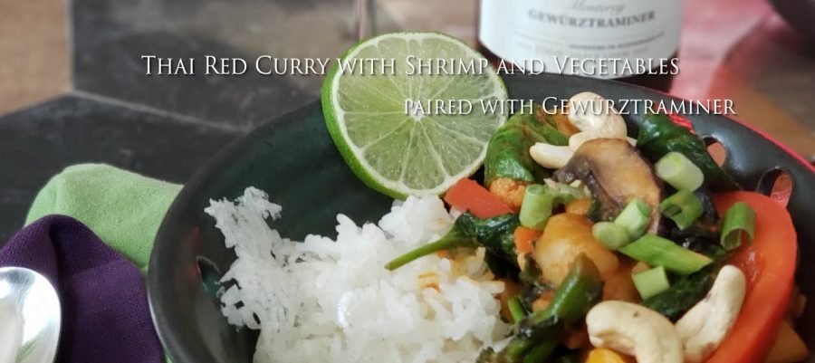 Thai Red Curry with Shrimp and Vegetables paired with Gewürztraminer
