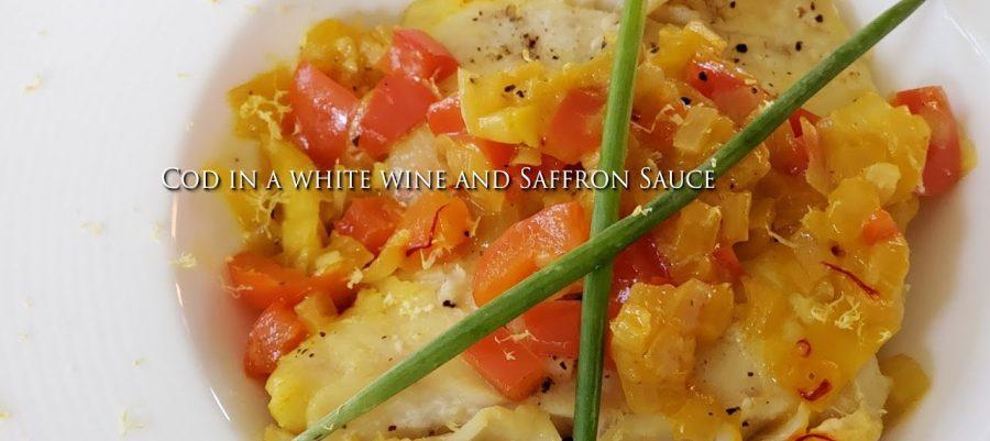Cod in a white wine and Saffron Sauce