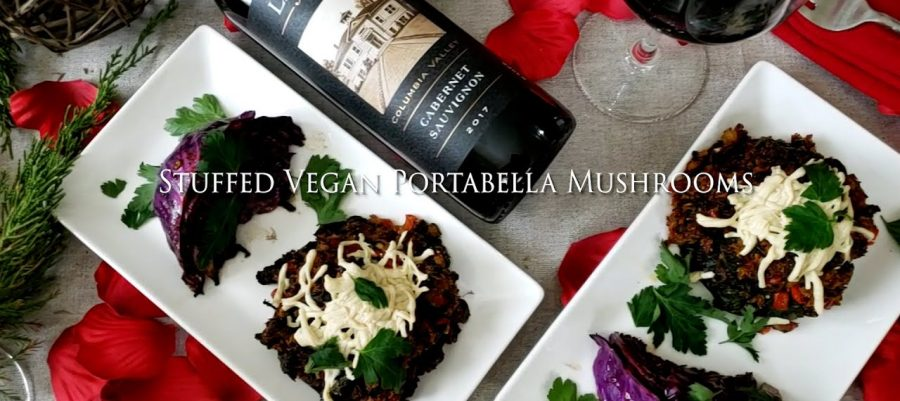 Stuffed Vegan Portabella Mushrooms recipe, paired with Cabernet Sauvignon