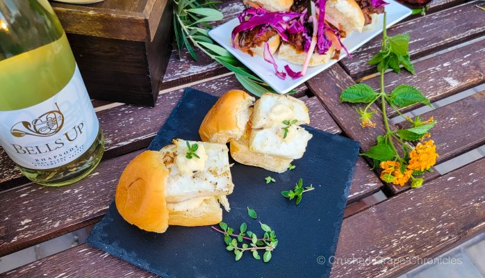 Halibut sliders with garlic parmesan aioli with the Bells Up 2020 Rhapsody Pinot Blanc
