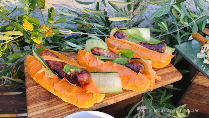 Bahn Mi inspired Sausage dogs with cucumber, carrot and mint