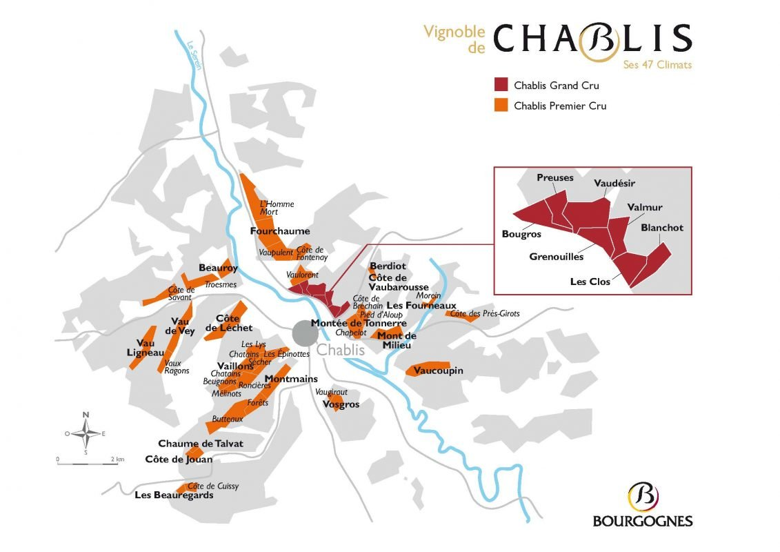 Map of the Climats of Chablis - courtesy Wines of Chablis