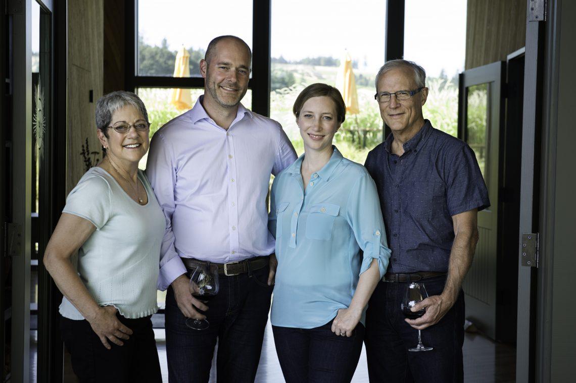 The family at Sokol Blosser, Susan, Alex, Alison and Bill (photo courtesy Sokol Blosser)