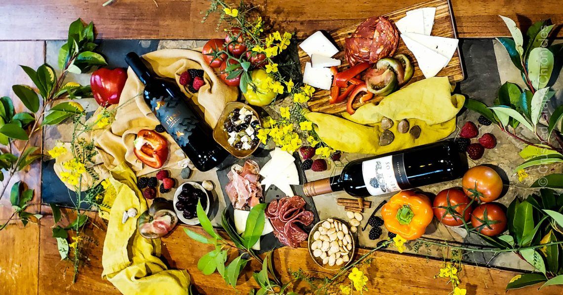 Garnacha from Calatayud in Aragon Spain with Spanish Cheeses and meats