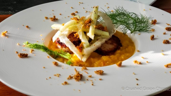 Seared Scallops on butternut apple cider puree with a fennel apple salad to pair with Domaine Jean-Marc Brocard Chablis Premier Cru