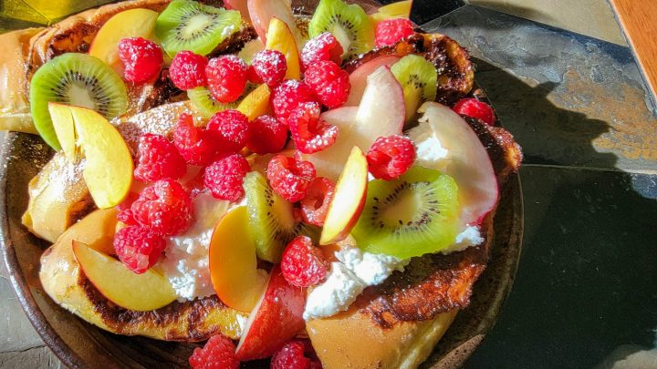 French toast with honey thymed ricotta and fresh fruit