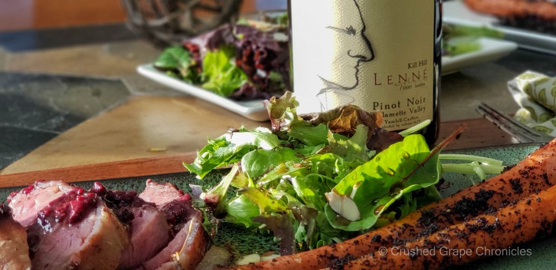 Lenne Estate 2018 Kill Hill Pinot Noir with salt and coffee roasted carrots, filet mignon with blackberry pan sauce and a salad