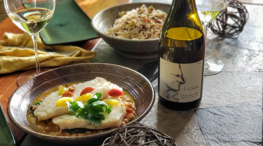 Lenne Estate 2018 Scarlett's Reserve Chardonnay with Sea Bass and Basmati rice with apples and saffron