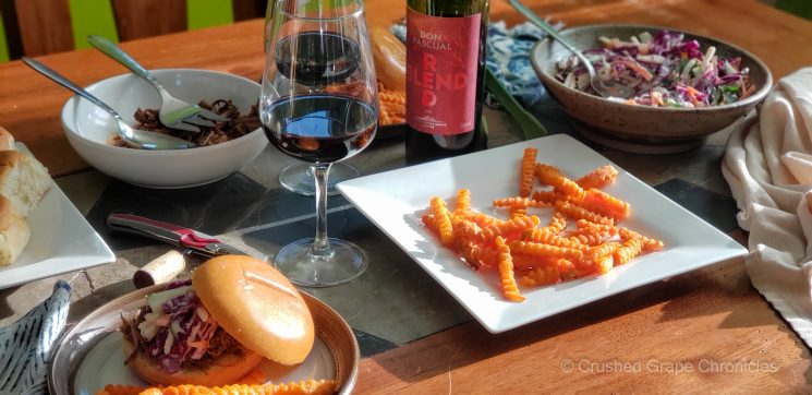 Uruguay Red Blend by Don Pasqual with Barbeque and fries