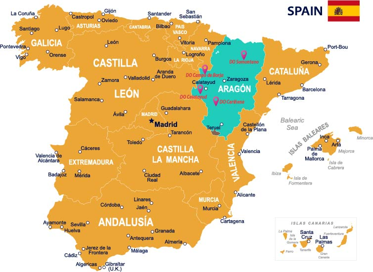 Map of Spain with Aragon and its DOs