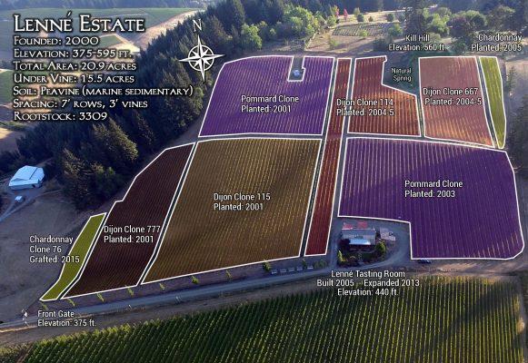 Vineyard map Lenné Estate (courtesy Lenné Estate)