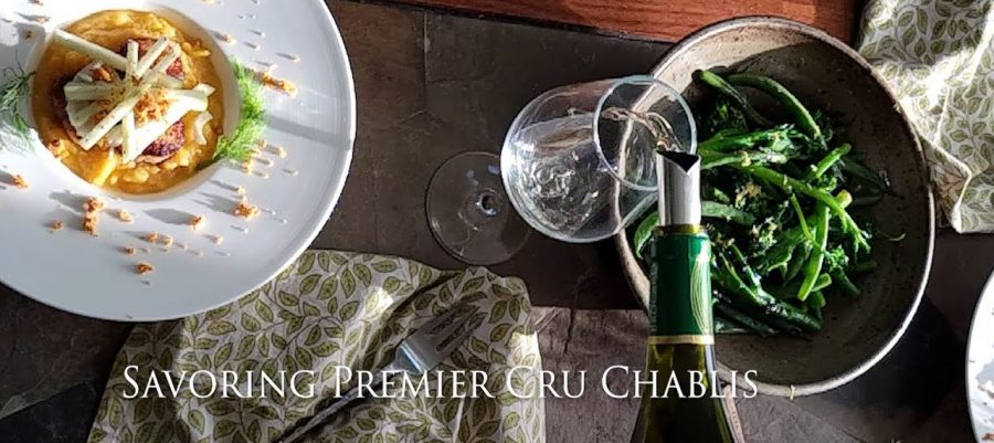 Savoring Premier Cru Chablis with Seared Scallops on butternut apple cider puree