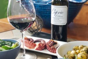 Caprio Cellars 2017 Eleanor paired with grilled octopus and herb roasted potatoes