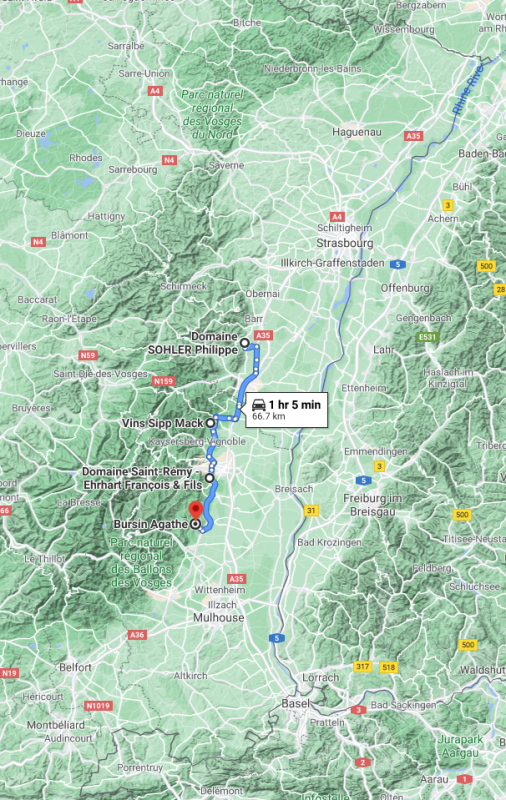Map of Alsace with the vineyards mapped out (courtesy Google Maps)